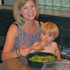 Mom & Toddler Eating Salad